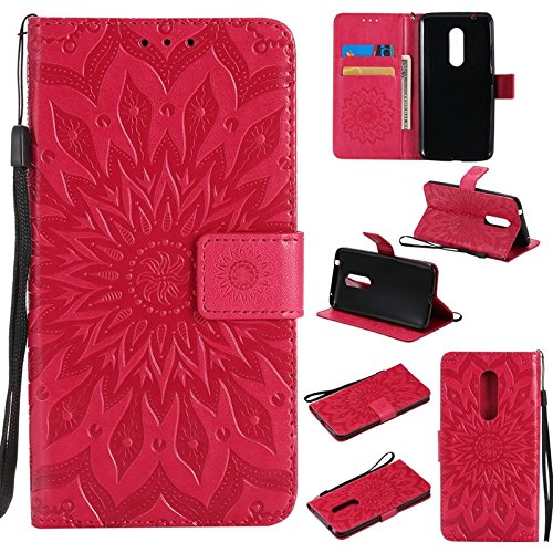 YHUISEN ZTE Axon 7 caso, diseño de la impresión de la flor del sol Caja de cuero del tirón de la PU de la PU del tirón con la ranura para tarjeta / soporte para ZTE Axon 7 ( Color : Blue ) Red
