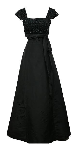 cherlone Negro Cap Sleeve cuello cuadrado novia boda dama de honor vestidos de novia (Negro
