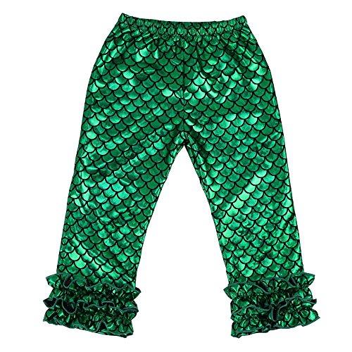 Wennikids Toddler Litle Girls Cotton Ruffle Leggings Large Shiny Fish Scale Mermaid