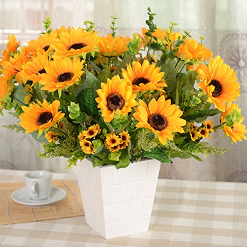 Kaimao 2 Bundles Artifical Sunflowers Bouquet, Artificial Flower with Green Leaves for Home Decor and Wedding Decorations -- A Stlye (Cherry Hedge Stem)