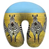 U Shape Neck Pillow Travel Relax Cervical Pillows Zebra On The Glassland Print
