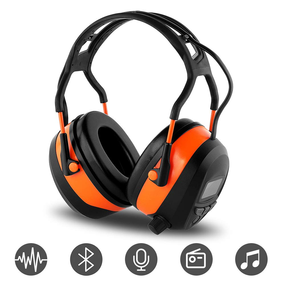 FM MP3 Bluetooth Radio Headphones Wireless Cancelling Headphones with 4GB SD Card Built-in Mic Electronic Noise Reduction Safety Ear Muffs Protection for Lawn Mower Work by WULFPOWERPRO by WULFPOWERPRO