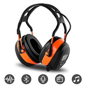 FM MP3 Bluetooth Radio Headphones Wireless Cancelling Headphones with 4GB SD Card Built-in Mic ElectronicNoise Reduction Safety Ear Muffs Protection for Lawn Mower Work by WULFPOWERPRO