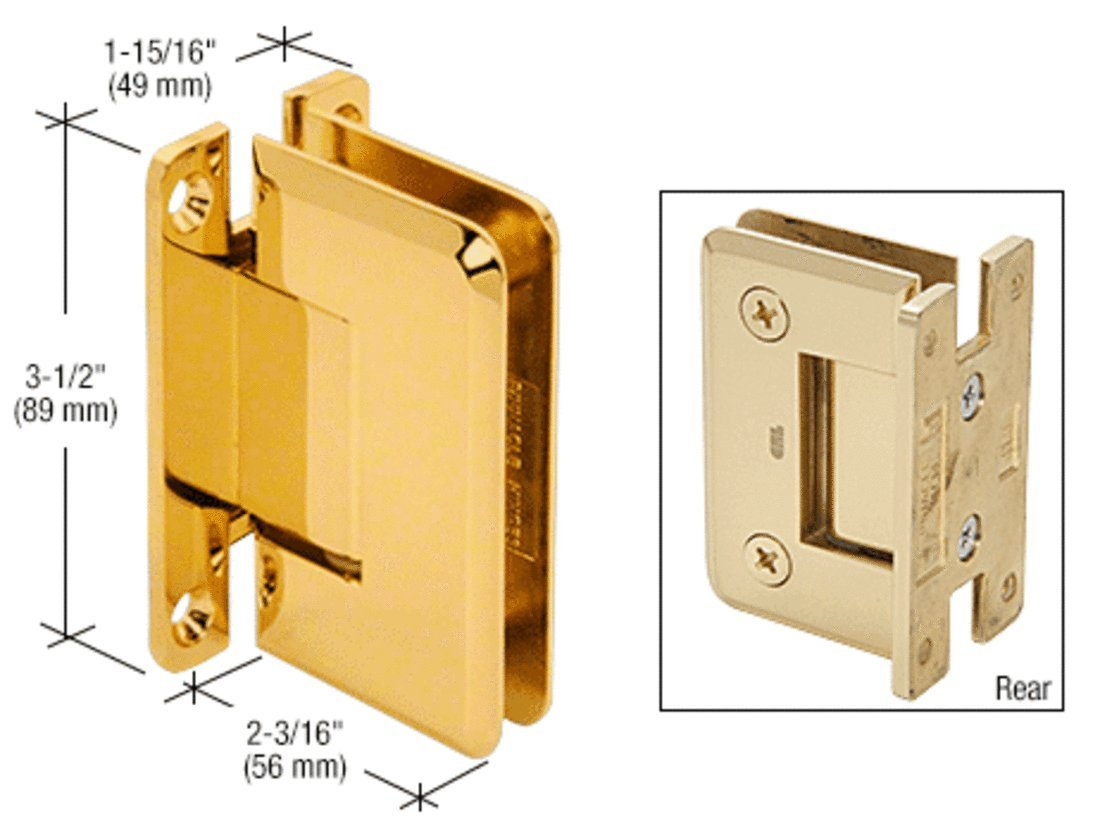 CRL Pinnacle 537 Series Ultra Brass Wall Mount Full Back Plate Standard Hinge with 5186; Offset