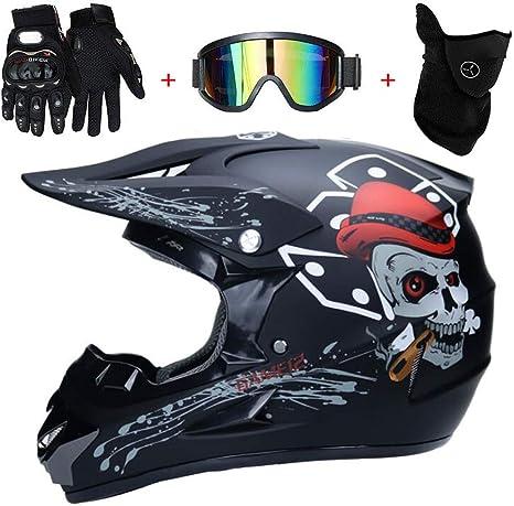 Casco Professionale Da Motocross Integrali Downhill Dot Omologato Caschi Set NJYBF Casco Moto Motocross Bambino S 52-53 cm