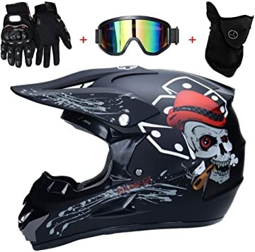 Tkui Skelett Schwarz Motorradhelm Cross Helme Schutzhelm Motocross Helm Für Motorrad Crossbike Off Road Enduro Sport Mit Handschuhe Sturmmaske Und Brille L 56 57cm Sport Freizeit