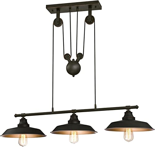 Ciata Iron Hill Oil Rubbed Bronze Finish Highlights with Metal Shade Iron Hill Three-Light Indoor Chandelier