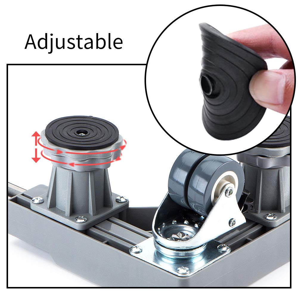 Washing Machine and Refrigerator /… LUCKUP Multi-functional Movable Adjustable Base with 4 Locking Rubber Swivel Wheels and 4 Strong Feet Size Adjustable Universal Mobile Case Roller Dolly for Dryer