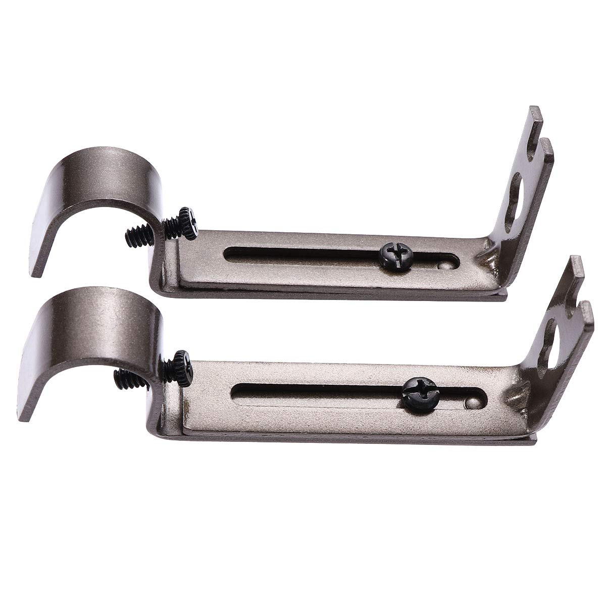 19.05mm Adjustable Curtain Rod Curtain Pole Holder Curtain Drapery Rod Brackets (Coffee) Pack of 2 VORCOOL