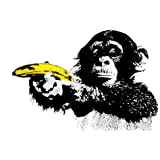Poster Revolution Grand poster style Banksy Motif singe braquant une banane 61 x 91,5 cm