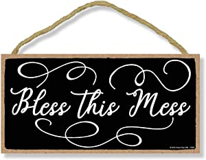 Honey Dew Gifts Bless This Mess 5 inch by 10 inch Hanging Family Sign, Wall Art, Decorative Wood Sign Home Decor