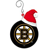 Boston Bruins Team Puck With Santa Hat Christmas Ornament by Fans With Pride