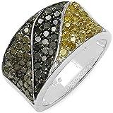1.32 ct. t.w. Genuine Multi Colour Diamond in Sterling Silver Ring
