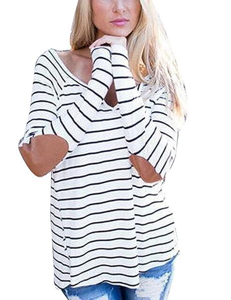 Mujer De Manga Larga con V Cuello De Rayas Blusa Suelto Camisa Top tee Camisas Rayas