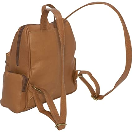 4225fe7949 Amazon.com  Le Donne Leather Zip Around 4 Pocket Women s Backpack Purse in  Black  Clothing