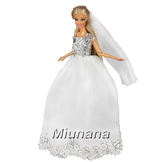 94636f1db Amazon.es  Miunana 1 Vestido Princesa Novia Elegante con Bordado + 1 Velo  Ropa