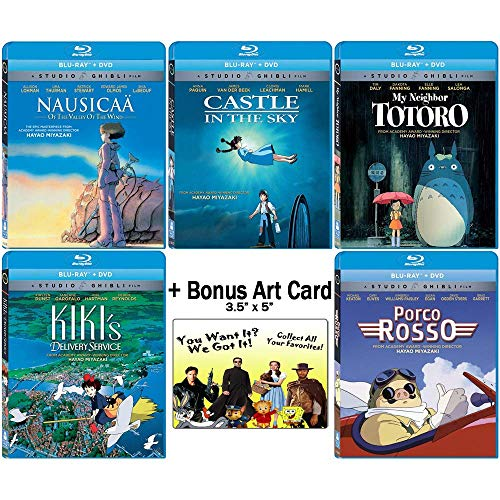 The Founders Blu-ray Collection: Written & Directed by Hayao Miyazaki (Nausicaa of the Valley of the Wind / Castle in the Sky / My Neighbor Totoro / Kiki's Delivery Service / + More) +Bonus Art Card (My Neighbor Totoro Blu Ray)