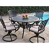 Cool Kawaii Collection Cast Aluminum Outdoor Patio Furniture Piece Dining Set With Swivel Rockers MLVT