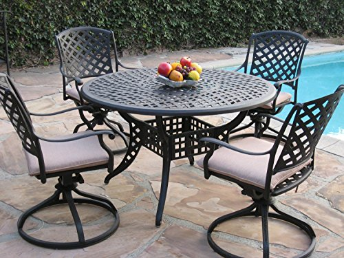 Kawaii Collection Cast Aluminum Outdoor Patio Furniture 5 Piece Dining Set With 4 Swivel Rockers MLV120T CBM1290 For Sale