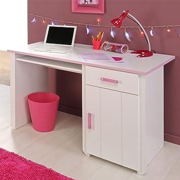 Kinderschreibtisch weiß  Pharao24 Schreibtisch für Kinder Kinderschreibtisch weiss rosa ...