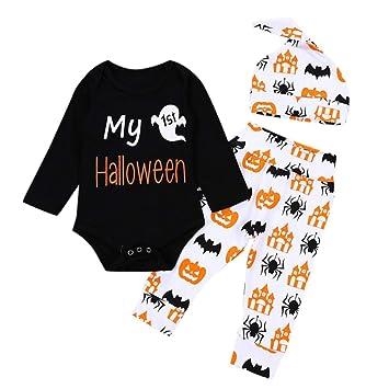 d54d31065961 Amazon.com  Halloween Infant Baby Girls Boys Jumpsuit Letter Print ...