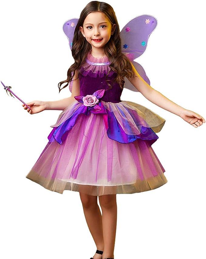 LOLANTA Disfraz de Hada Mariposa de Halloween para niña Traje de ...
