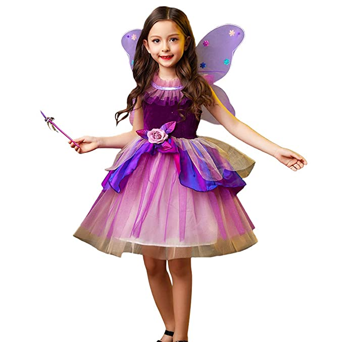 LOLANTA Disfraz de Hada Mariposa de Halloween para niña ...