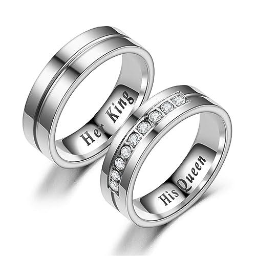 Amazon.com: Daesar - 2 anillos de acero inoxidable unisex de ...