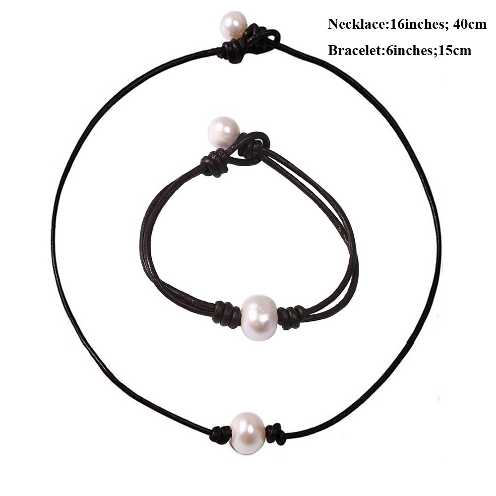 Bodai Freshwater Pearl Leather Choker Necklace for Women Natural Handmade Jewelry CCPN028