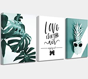 """Canvas Wall Art Tropical Plants Simple Life Pictures Nordic Modern Prints Living Room Bathroom Wall Decoration Monstera Pineapple Watercolor Bedroom Wall Art 12"""" x 16"""" 3 Pieces Modern Home"""