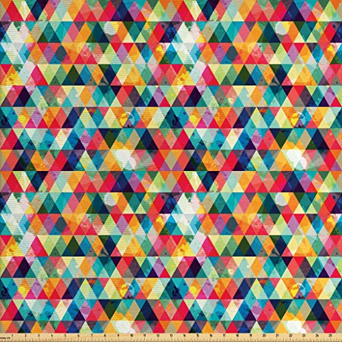 Lunarable Abstract Triangle Fabric by The Yard, Geometric Colorful Grunge Pattern Retro Motifs from Eighties and Nineties, Decorative Fabric for Upholstery and Home Accents, 2 Yards, Multicolor