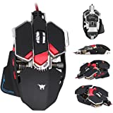 Combaterwing Gaming Mouse 4800 DPI Aluminum Base, 10 Buttons, RGB LED Professional Programmable USB Wired Gaming Mice for PC Laptops Computer