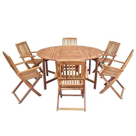 Tavoli E Sedie In Legno Per Esterno.Festnight Set Tavolo Rotondo E 6 8 Sedie Pieghevoli Da Giardino