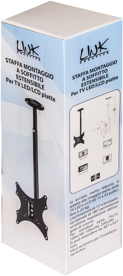 Link LKBR19 Staffa Estensibile Montaggio a Soffitto per TV LED//LCD da 13 a 43 Fino a 25Kg e Vesa 200X200 Italia