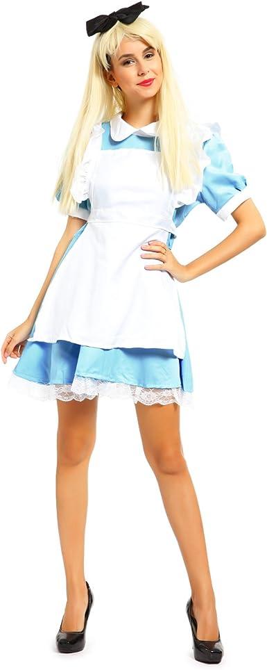 Ladies Alice Costume Womens Fairytale Fancy Dress Wonderland Cosplay Outfit M//L