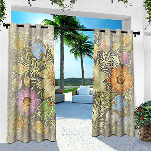 leinuoyi Grunge, Outdoor Curtain Wall, Ornate Aged Floral Bouquet Composition Over Antique Style Marble Setting Bohemian Print, for Patio Waterproof W84 x L96 Inch Multi
