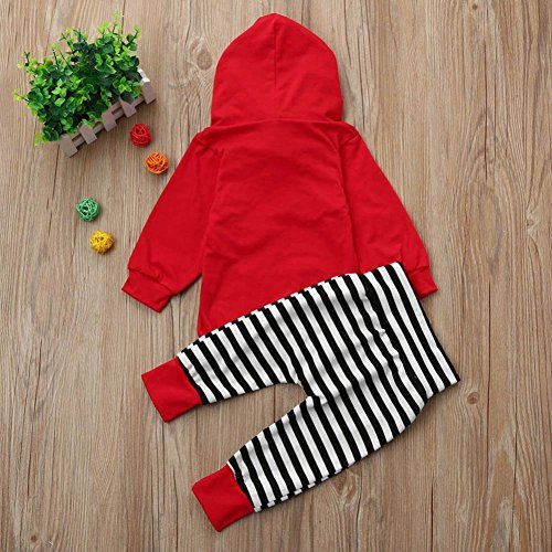 Babykleidung, Longra Kleinkind Baby Mädchen Jungen Outfits Kleidung Mit Kapuze Sweatshirts Tops + Stripe Hosen Set Unisex Baby Kapuzenpullover Bekleidung Red