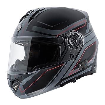 TORC T27B Blinc - Casco de moto integrado, Bluetooth, con gráfico, hoja negra