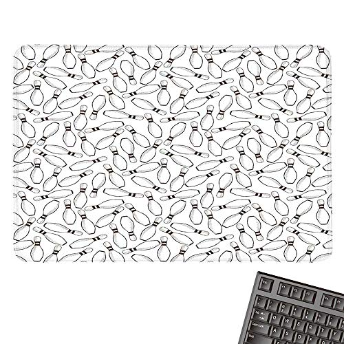 """Bowling Party DecorationsCustomize Mouse padSketchy Bowling Pins Pattern Hand Drawn Monochrome HobCustomized Mouse Pad 15.7""""x23.6""""Dark Brown White"""