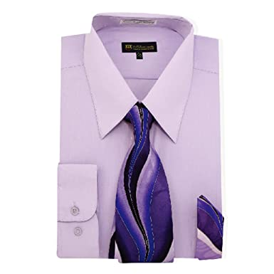 111f3bb2a Milano Moda mens Dress Shirt with Tie/Handkerchief HLSG21 New York Brand