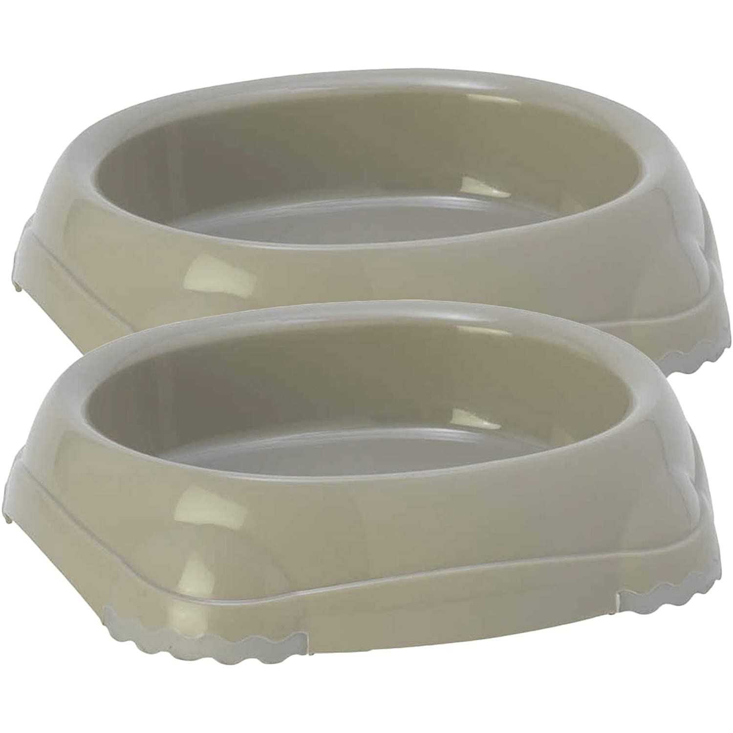 2 Non Slip Grey Cat Bowls - 0.2l 6 Colours Available Bowl Feeder Water Dish Fidding Kitten Dog Pet Bolting Darts