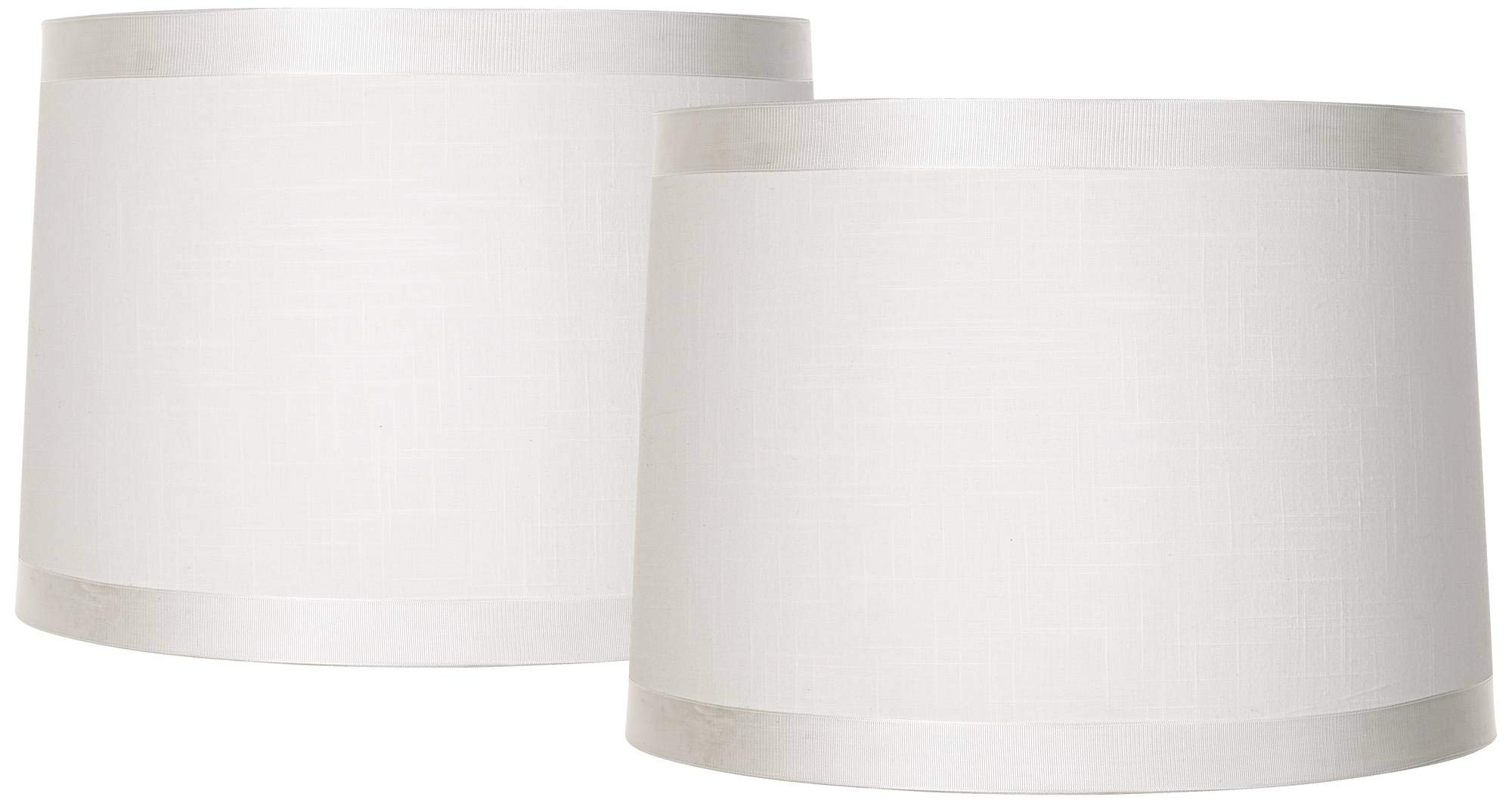 White Fabric Set of 2 Drum Lamp Shades 13x14x10 (Spider) - Brentwood