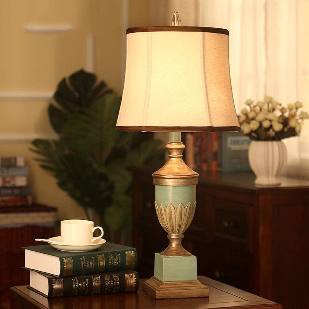 Lámparas de mesa antiguas europeas del dormitorio Lámparas de mesa del vintage para el dormitorio ligero de la luz del escritorio de la resina del dormitorio Dormitorio, interruptor de botón: Amazon.es: Iluminación