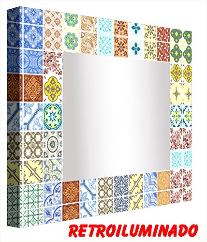 - Ccretroiluminados Tile Portugues Small Bathroom Mirror with Light, Acrylic, Multicoloured, 60 x 60 x 5.3 cm