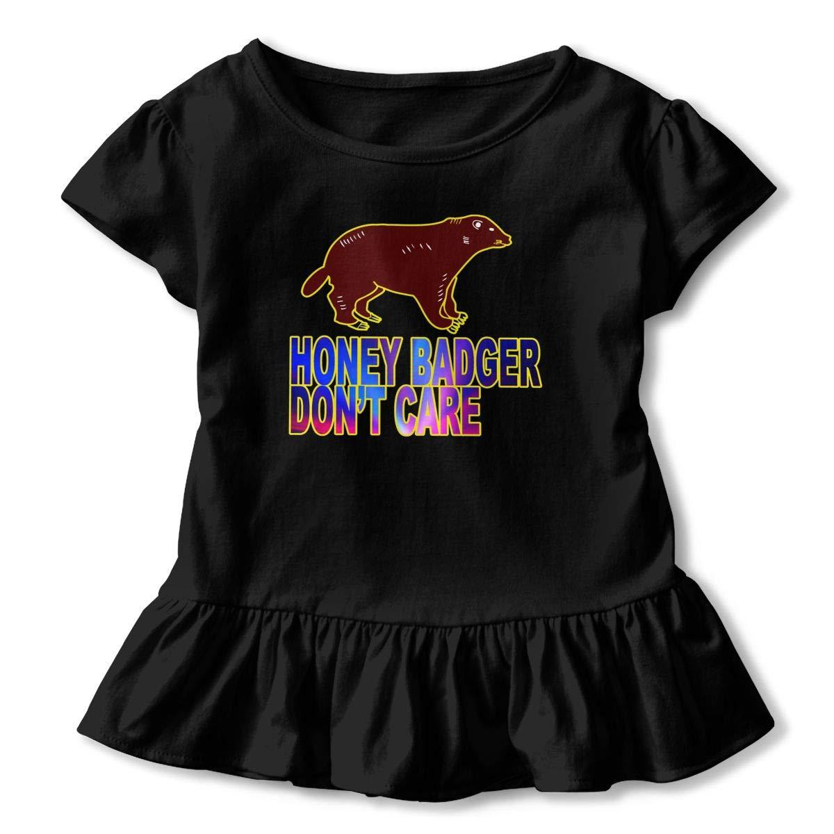 Honey Badger Don T Care Toddler Baby Girl Ruffle Short Sleeve T-Shirt Cute Cotton T Shirts