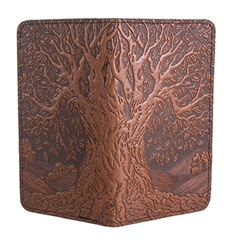 - Oberon Design Tree of Life Embossed Genuine Leather Checkbook Cover, 3.5x6.5 Inches, Saddle Color, Made in the USA