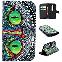 Moto G (3rd Gen) Case,Moto G3 Case,[Wallet Feature],YiLin [Kickstand][Card Slot][Flip][Slim Fit] Premium Protective Case for Motorola Moto G (3rd Gen) [Green Eye Owl]