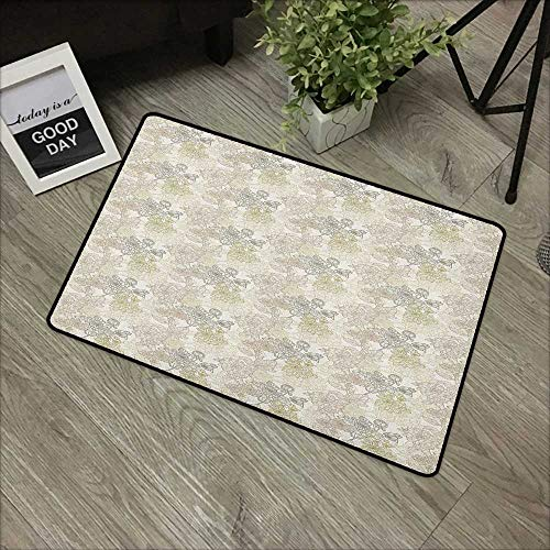 Interior door mat W35 x L47 INCH Vintage,Pattern of Chrysanthemum Flowers with Retro Inspirations Flourishing Nature Design, Taupe Beige Easy to clean, no deformation, no fading Non-slip Door Mat Carp