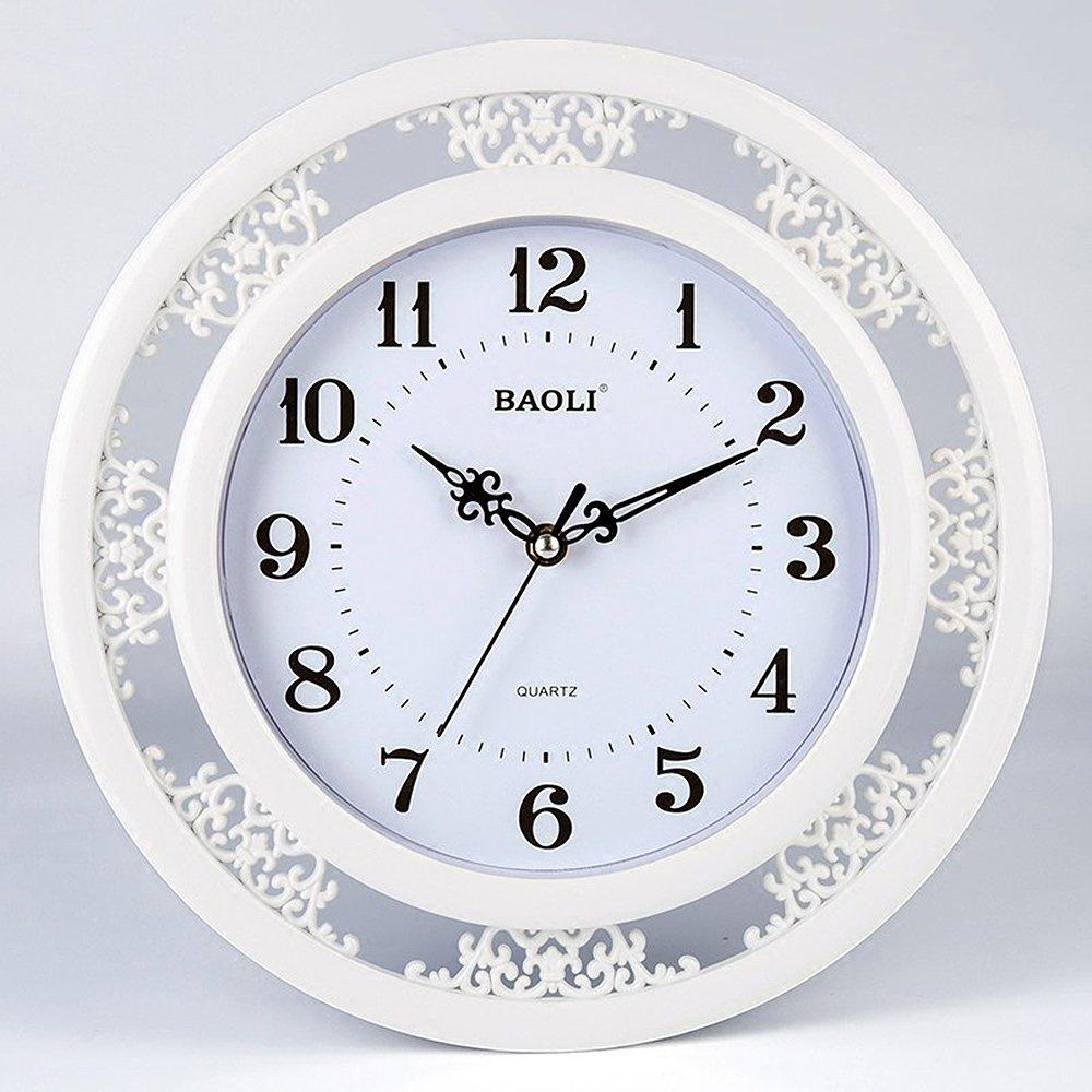 ne contient pas de batterie bureau cuisine white KKLOCK Horloge murale silencieuse pour salon chambre denfant batterie AA simple /Ø 35 cm Ronde r/étro avec chiffres Cartoon Montres chambre