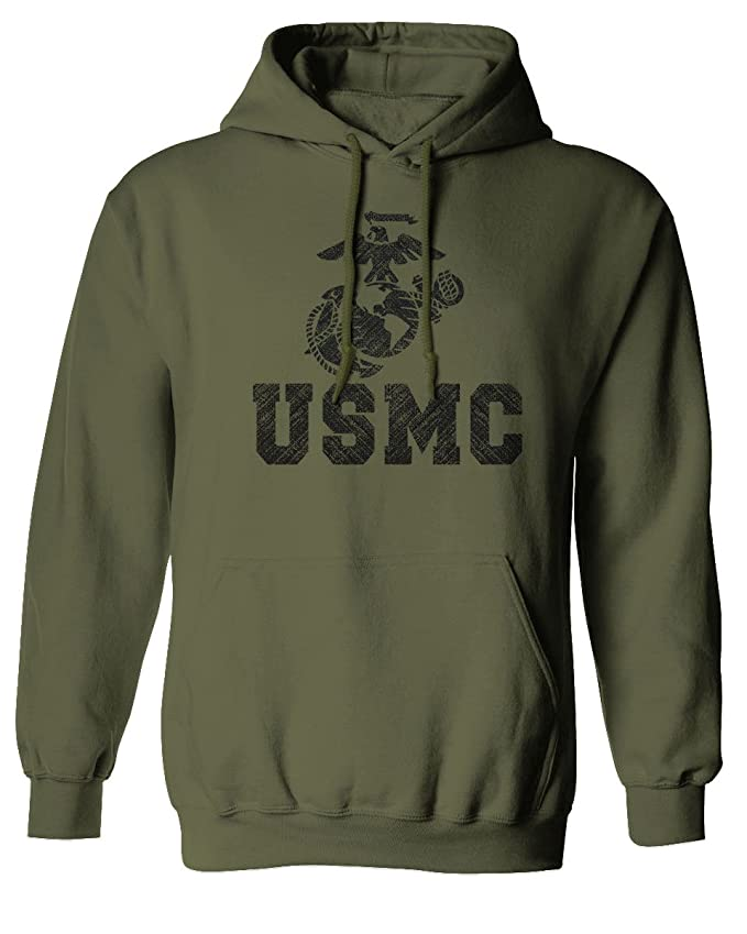 USMC Marine Corps Big Logo Black Seal United States of America USA American Hoodie